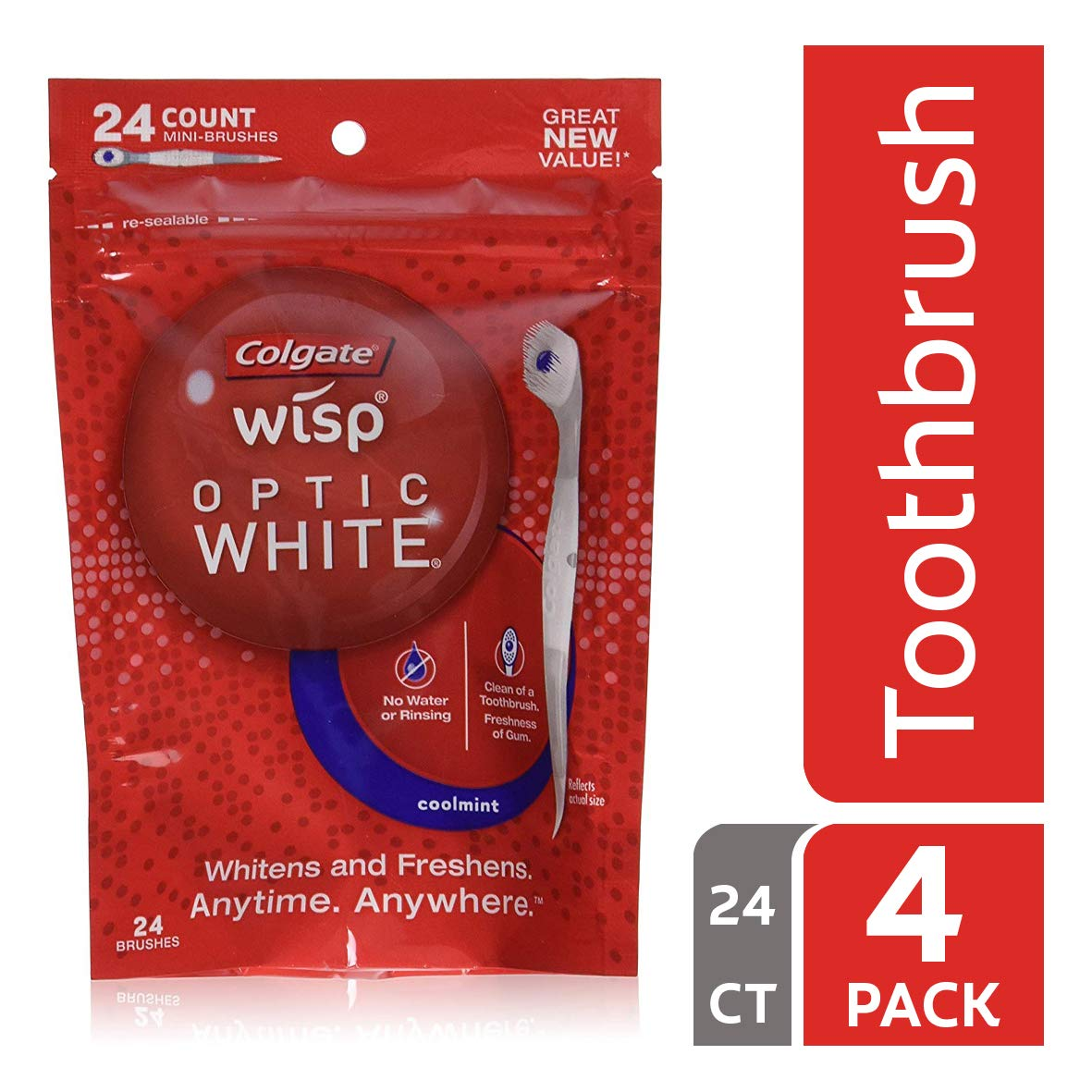Colgate Optic White Wisp Disposable Mini Toothbrush, Cool Mint - 24 Count (4 Pack) by Colgate