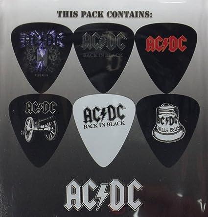Perri Hot Picks AC/DC 6 Guitar Picks Pack 3 Hell's Bells Back in Black
