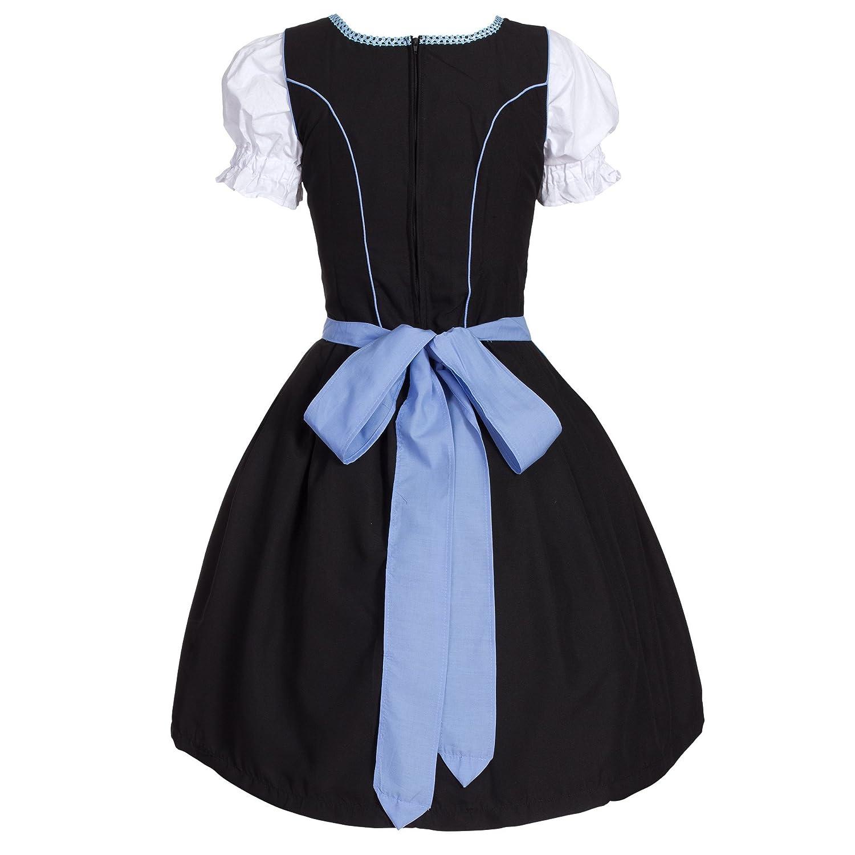 9dc4435c04edb Dirndl 3 Pieces Skirt, Dirndl Dress, Blouse, Apron, Size 34-46 Black/Sky