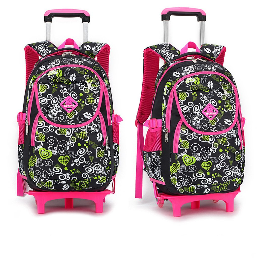 904fefe291 GudeHome Zaino Trolley borsa di scuola con ruote zaino di scuola con ruote  per viaggio ragazza scuola bambini nero + rosa: Amazon.it: Valigeria