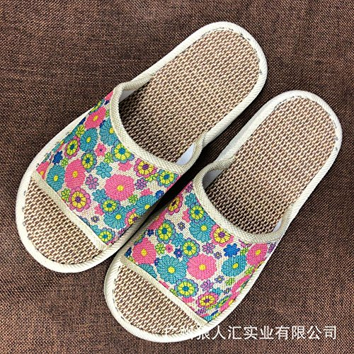 DHGH Linen material non-slip health slippers four seasons home slippers couple models Pink VGyFV20
