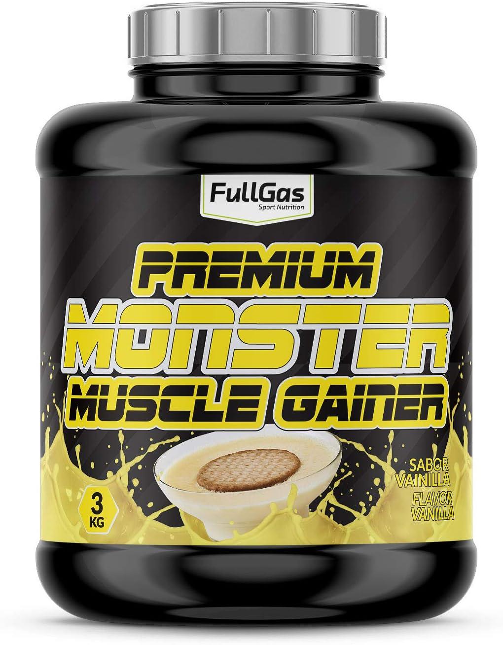 FullGas - MONSTER Premium Gainer Vainilla 3kg: Amazon.es ...