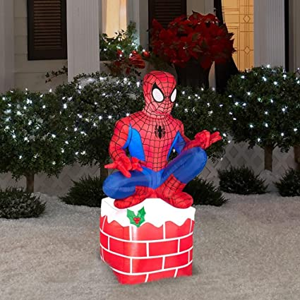 35 ft tall led inflatable christmas outdoor spider man sitting on chimney display w - Used Outdoor Christmas Decorations For Sale