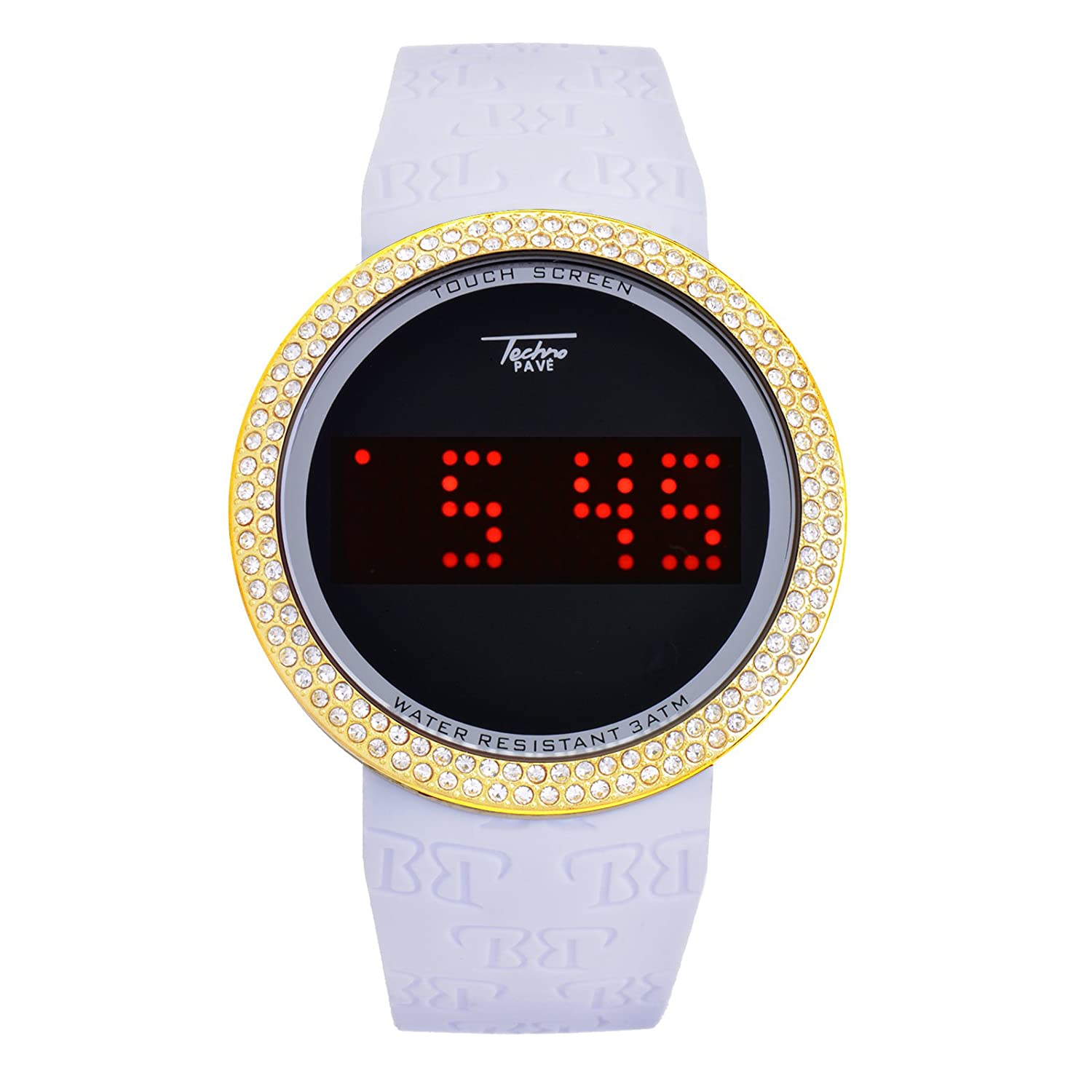 Touch Screen Digital Sports Iced Out Watches Silicone Band WR 7373 GWH