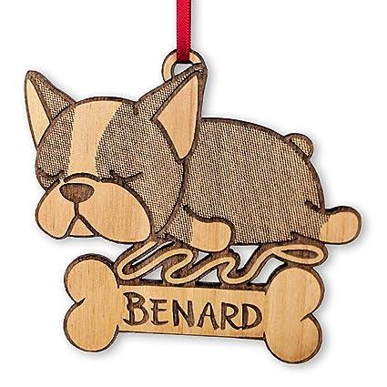Amazon French Bulldog Engraved Wooden Ornament Sleeping Puppy