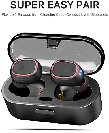 TOZO T8 True Wireless Stereo Headphones TWS Bluetooth in-Ear Earbuds with Charging Case Built-in Mic Headset. Premium Sound with Bass for Running Sport – Super Easy Pair