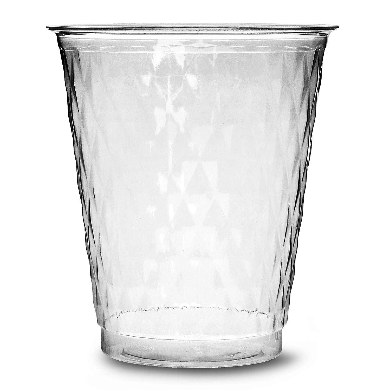 50 tazas de plástico, transparentes y desechables, para fiestas, con diseño de diamante, 250 ml de capacidad, tamaño pequeño