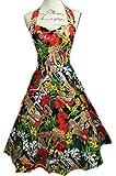 Vintage 50s Hepburn Dress Halter 1950s Style Beach Girl Print Pin Up Rockabilly Swing Dresses Skirt + Laundry Bag + Gift / Shopper Bag By BOOLAVARD (L (14), Beach Dress)