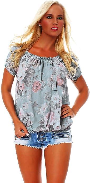Zarmexx Blusa Para Mujer Top Camisa Floral Camisa de Manga Corta Blusa de Viscosa * Grande Rosa * (Talla Única, 36-40)