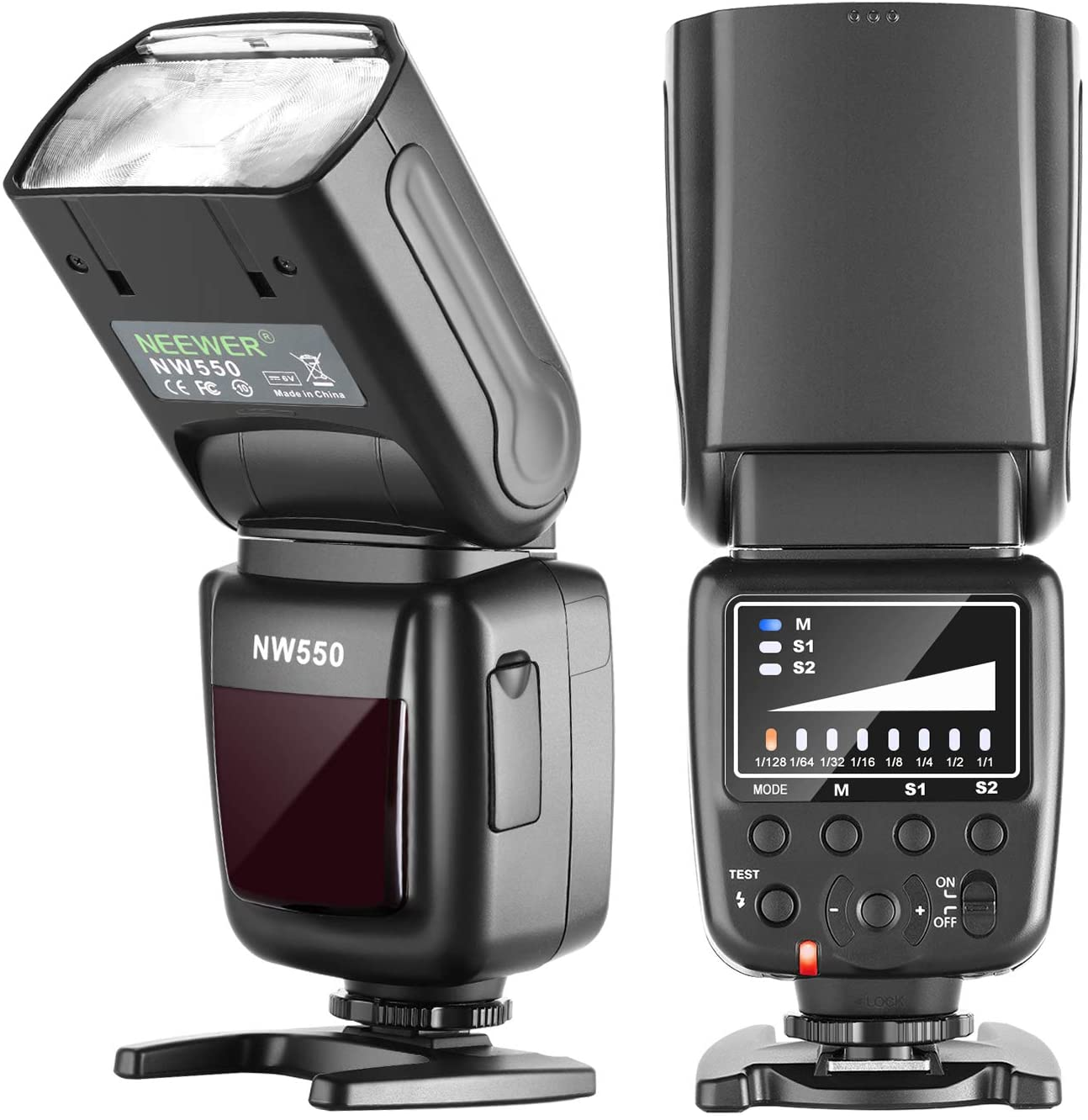 Neewer NW550 Camera Flash Speedlite, Compatible with Canon Nikon Panasonic Olympus Pentax, Sony with Mi Hot Shoe and Other DSLRs and Mirrorless Cameras with Standard Hot Shoe