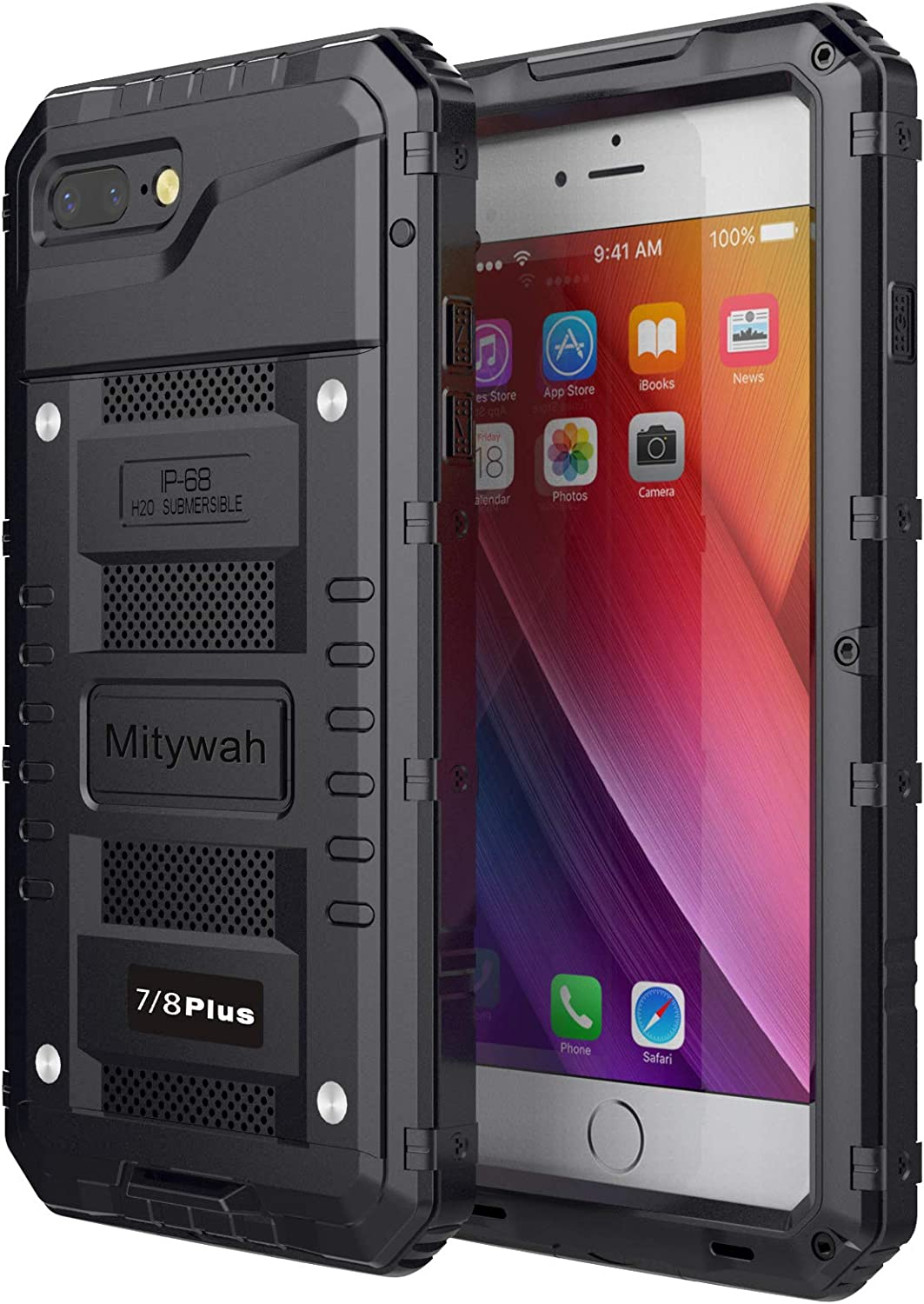 Mitywah Waterproof Case for iPhone 7/8 Plus, Heavy Duty Durable Metal Full Body Protective Case Built-in Screen Protection Dropproof Shockproof Dustproof Rugged Military Grade Defender, Black