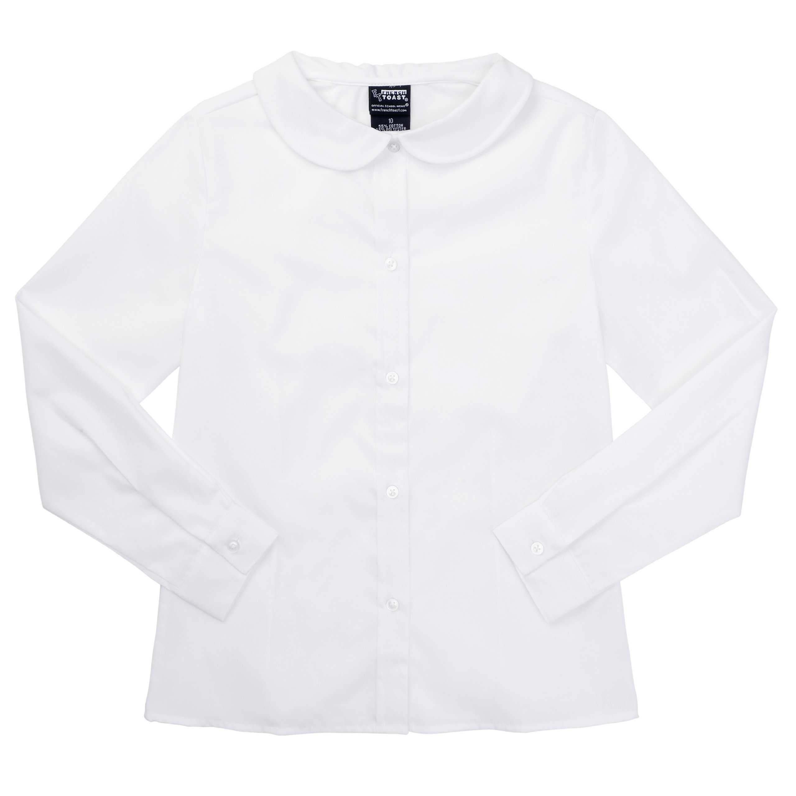French Toast School Uniform Girls Long Sleeves Peter Pan Blouse, White, 6X
