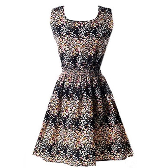 Honghu Damen Blumen Kleid Dress Größe XS Schwarz Blumen