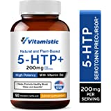 Vitamistic 5-HTP 200mg 90 Time-Release Veggie Caps, From Griffonia Seed Extract, Enhanced with Vitamin B6 for Improved…