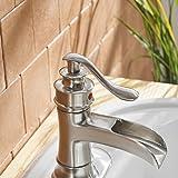 BWE Waterfall Brushed Nickel Bathroom Sink Faucet