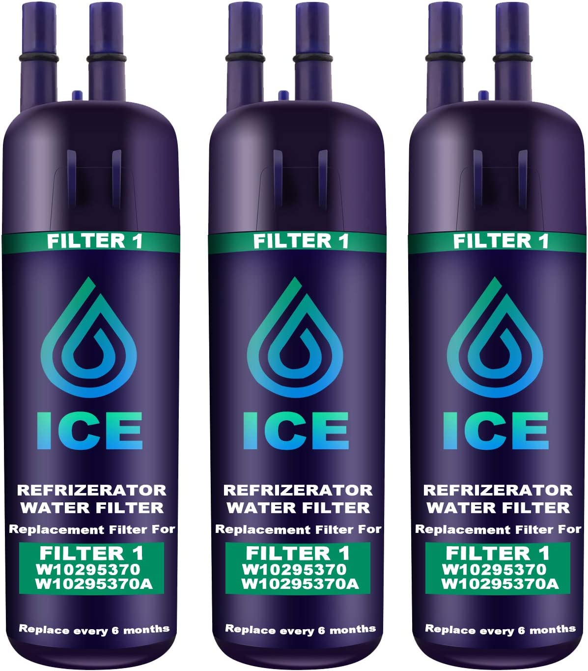 Compatible with W10295370A EDR1RXD1 Refrigerator Water Filter 1 Kenmore 46-9081,Kenmore 46-9930 water filter 3pack EDR1RXD1 W10295370 Water Filter Cap Replacement