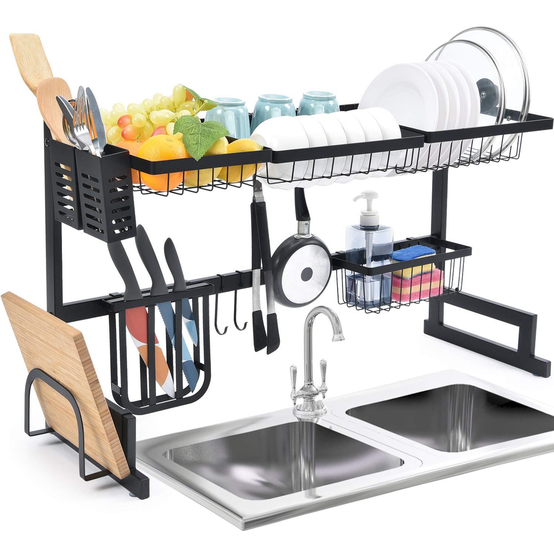 estante organizador para fregadero con ganchos para utensilios de cocina Escurreplatos Kingrack con 2 niveles de gran capacidad almacenamiento para platos cuencos y ollas