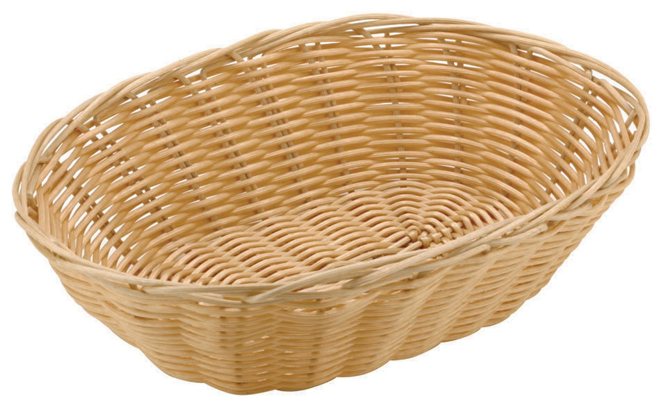 Paderno World Cuisine 6-Inch Diameter by 9-Inch Long Oval Polyrattan Bread Basket