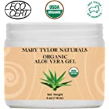 Organic Aloe Vera Gel, USDA Certified 4 oz by Mary Tylor Naturals, Premium Grade, 100% Organic, Natural & Cold Pressed - For Face, Skin, Hair, Sun Burns, Damaged Skin and Acne