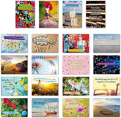 ewtshop 20 tarjetas postales Juego Alegría con 20 Frases & Citas//Postal Tarjeta De Felicitación con texto en alemán: Amazon.es: Oficina y papelería