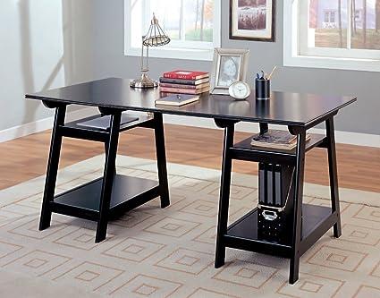 amazoncom coaster trestle style office desk table black wood finish kitchen dining black office desk