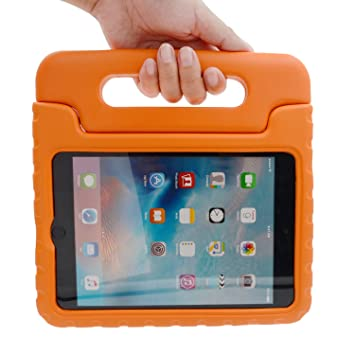 iPad in durable foam case with handle.