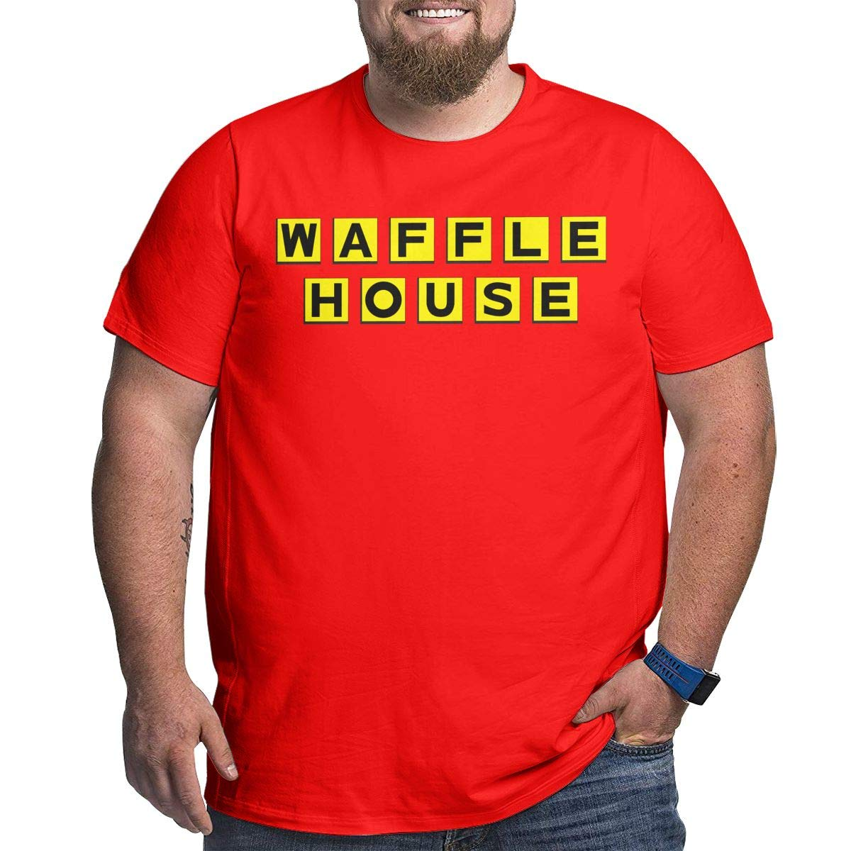 Fat Men's T Shirt Waffle House Logo Tee Shirts T-Shirt Short-Sleeve Round Neck Tshirt for Men Youth Boys Plus Size Red 6XL by BKashy