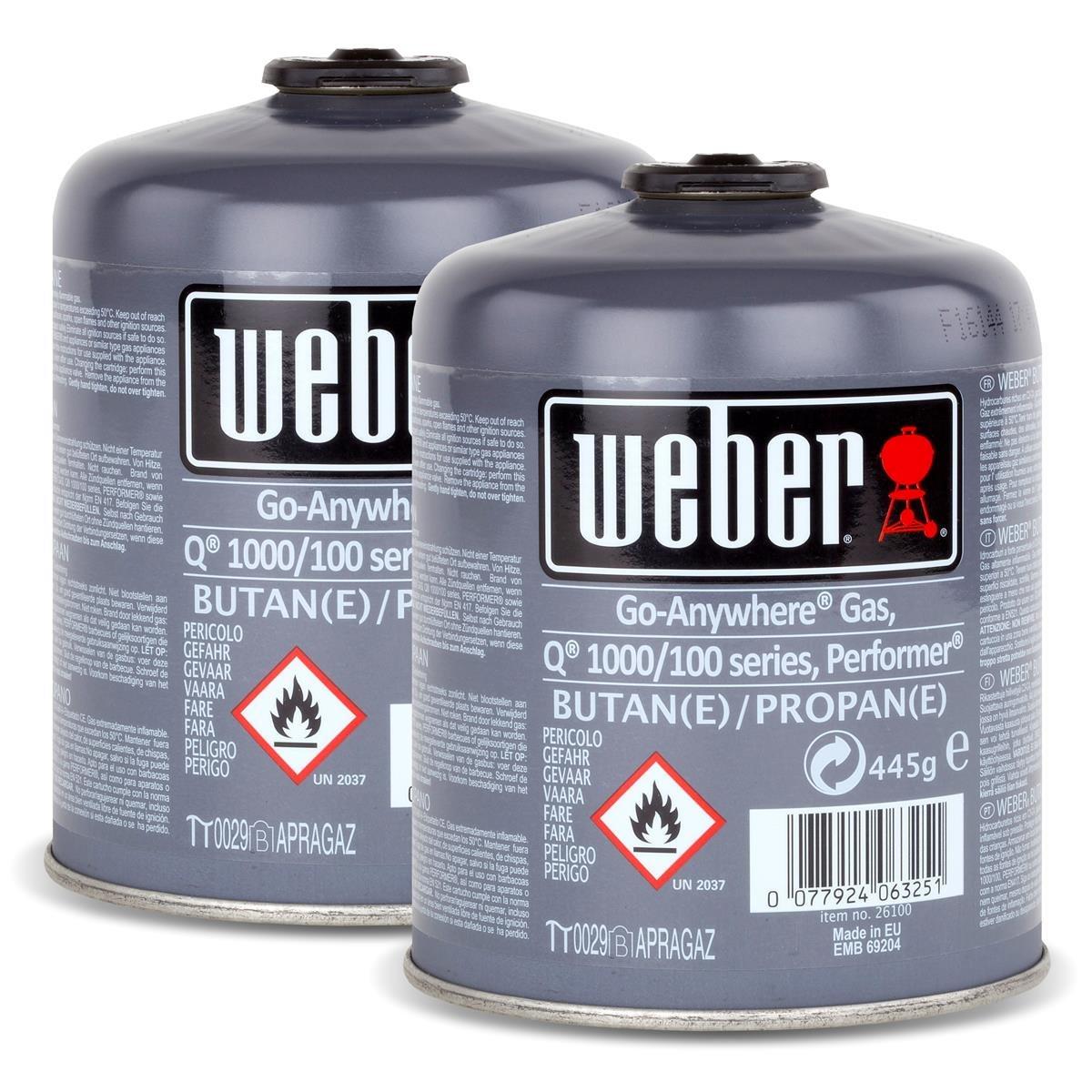 Weber Cartuccia Gas formato piccolo (445 gr) - da 2 pz