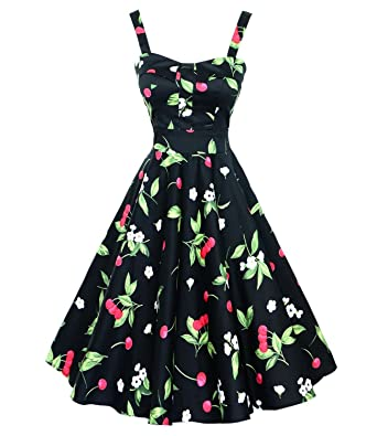 U-shot Ladys Vintage 50s 60s Rockabilly Pinup Swing Prom Party Housewife Dress (M