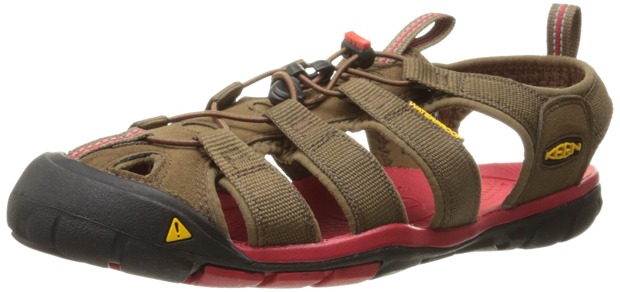 KEEN Men's Clearwater CNX Sandal, Dark Earth/Racing Red, 7 M US