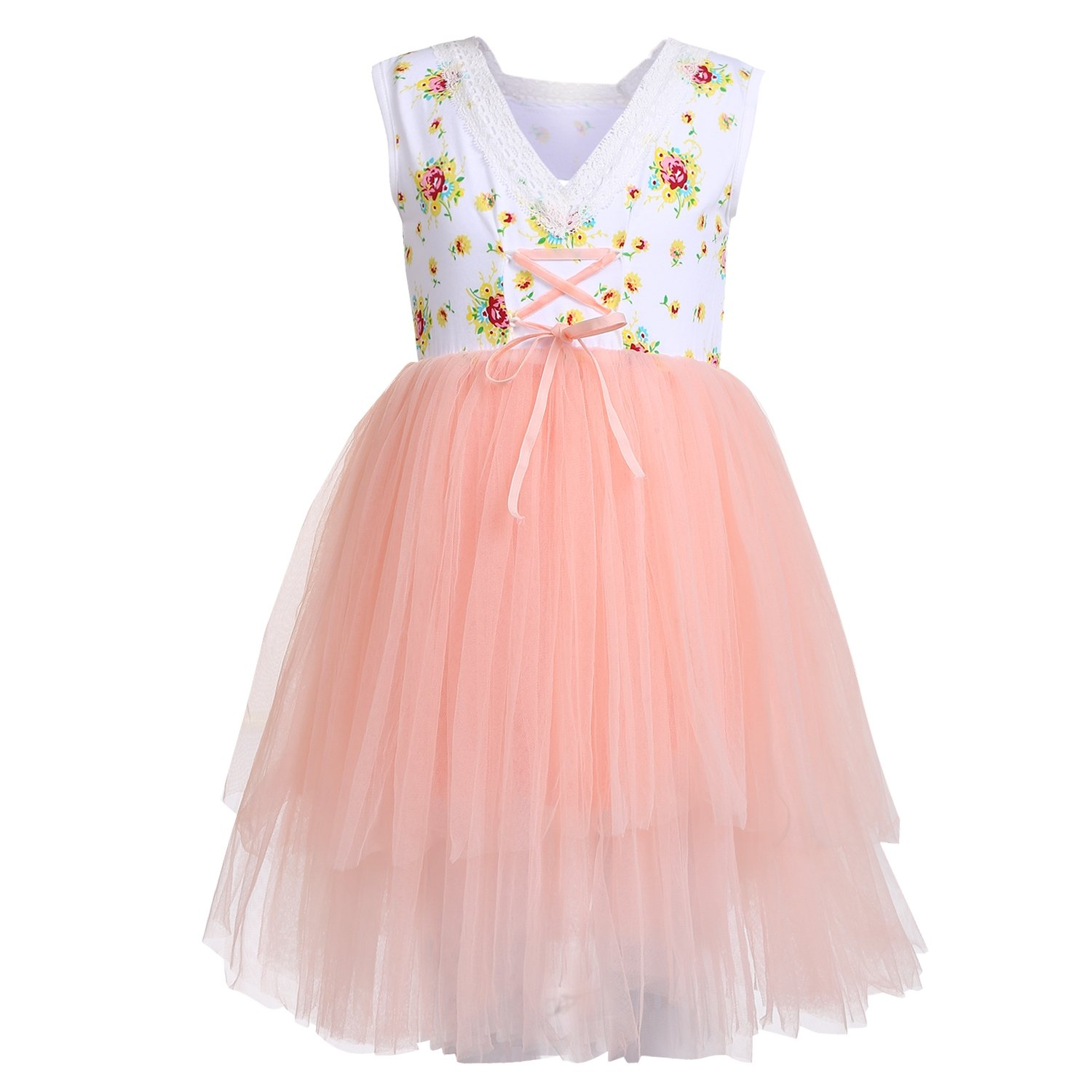 Arshiner Little Girls Sleeveless Tutu Party Princess Dress,Pink,130(Age for 8-9Y)