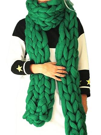c5b082ca22488 Handmade Scarf Super Chunky Wool Scarf Arm Knit Giant Wool Yarn Scarf  Infinity Scarf (green