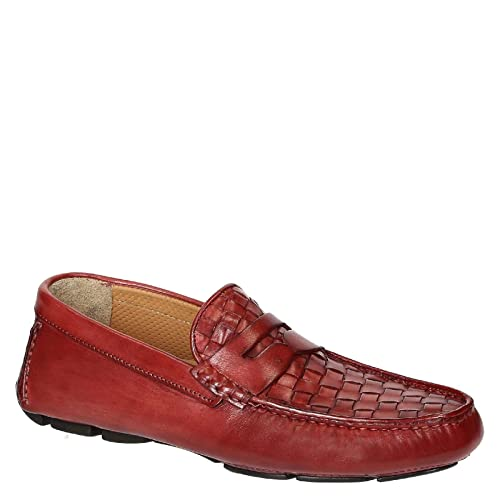 Mocasines de conducción de Piel Tejida roja para Hombre.: Amazon.es: Zapatos y complementos