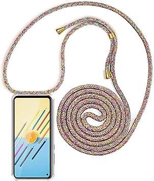 Bigcousin Funda con Cuerda Compatible con Samsung Galaxy S9 Plus,Transparente de TPU con Ajustable Collar Cadena Cord/ón,Albaricoque Rojo Gris