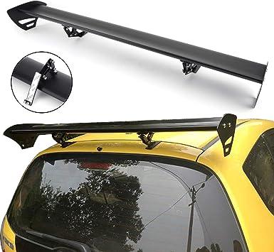 Areyourshop Universal Hatch Adjustable Aluminum GT Rear Trunk Wing Racing Spoiler Black