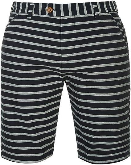 TALLA M. Pierre Cardin Hombres 100% Algodón Pantalones Cortos Ligeros de Verano Hilo Teñido