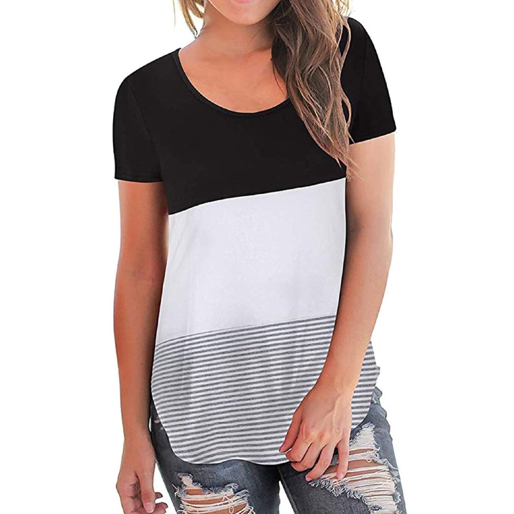 Women's Short Sleeve Stripe Print Shirt Summer Casual Patchwork Tunic Loose Blouse Splice Tops Black