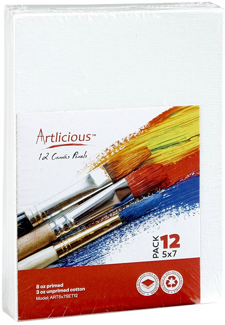 Artlicious Canvas Panels 48 Pack - 5''X7'' Super Value Pack- Artist Canvas Boards for Painting