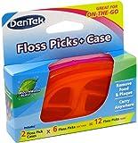 DenTek Floss Picks + Case On-The-Go Mint Flosser, Colors May Vary 12 ea (Pack of 2)