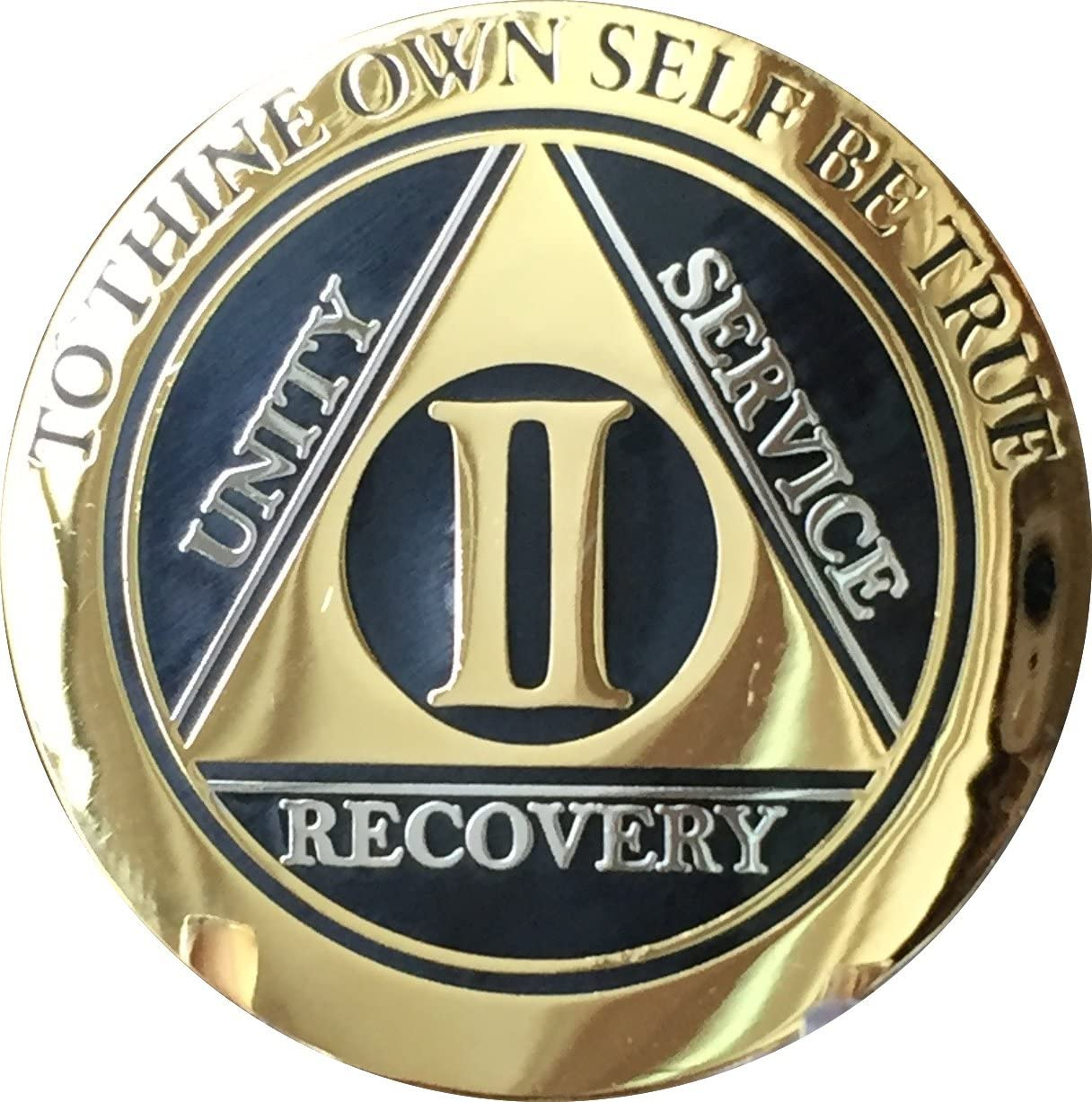 Token Black /& Gold Sobriety Chip Coin Alcoholics Anonymous Blue Recovery Line 42 Year AA Medallion