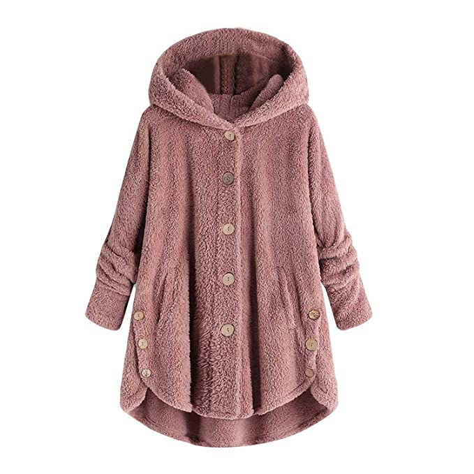 Women Jacket Winter Button Loose Warm Hoodie Long Chamarra ...
