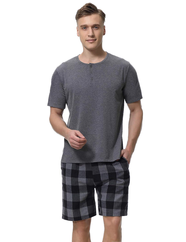 Pack 1/&2 Aibrou Pantalon Pijama Corto Hombre Sal/ón Pantalones Cortos El/ástico Verano de 100/% Algodon
