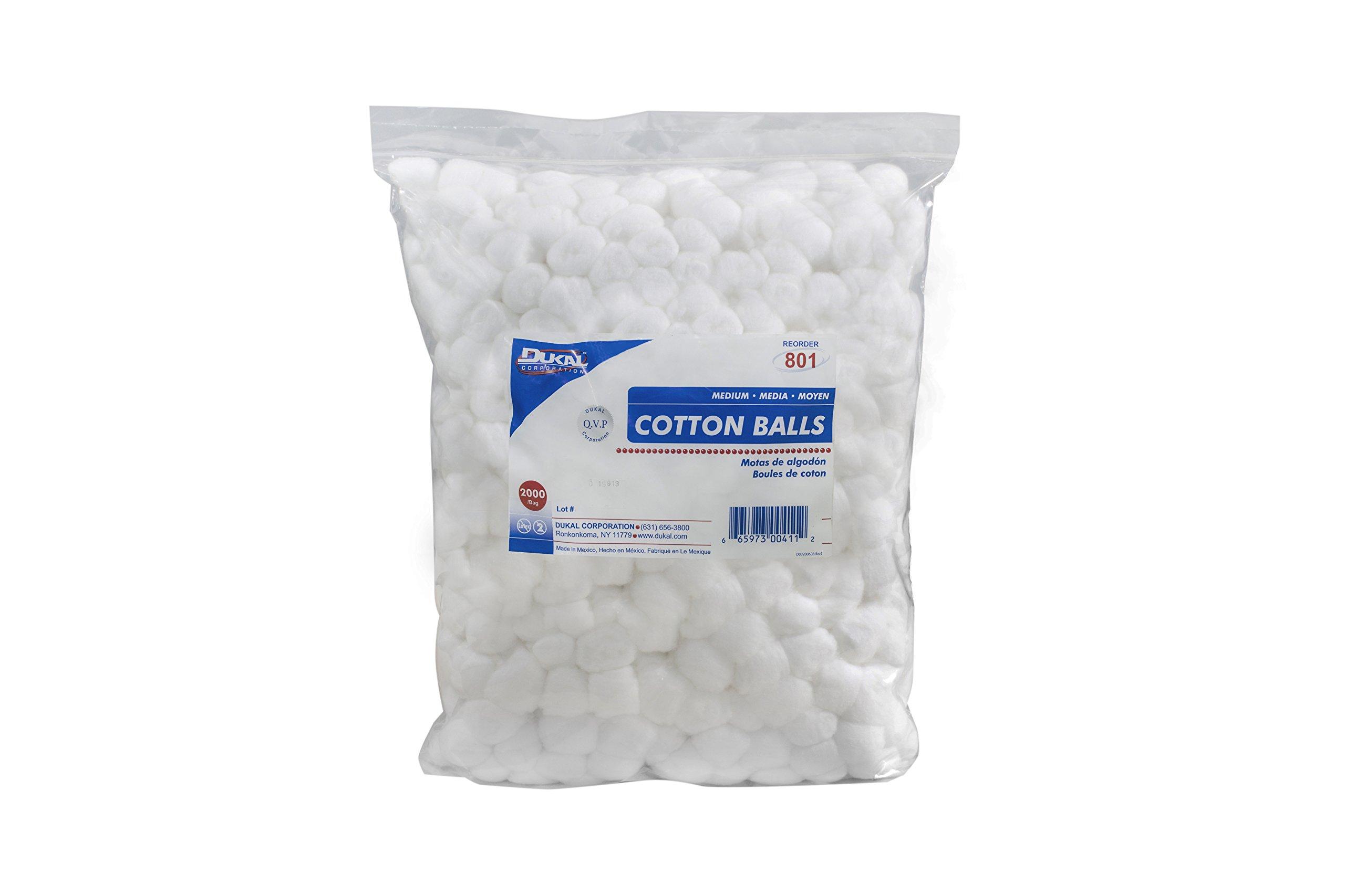 Dukal 801 Cotton Balls, Non Sterile, Medium, White (Pack of 4000)