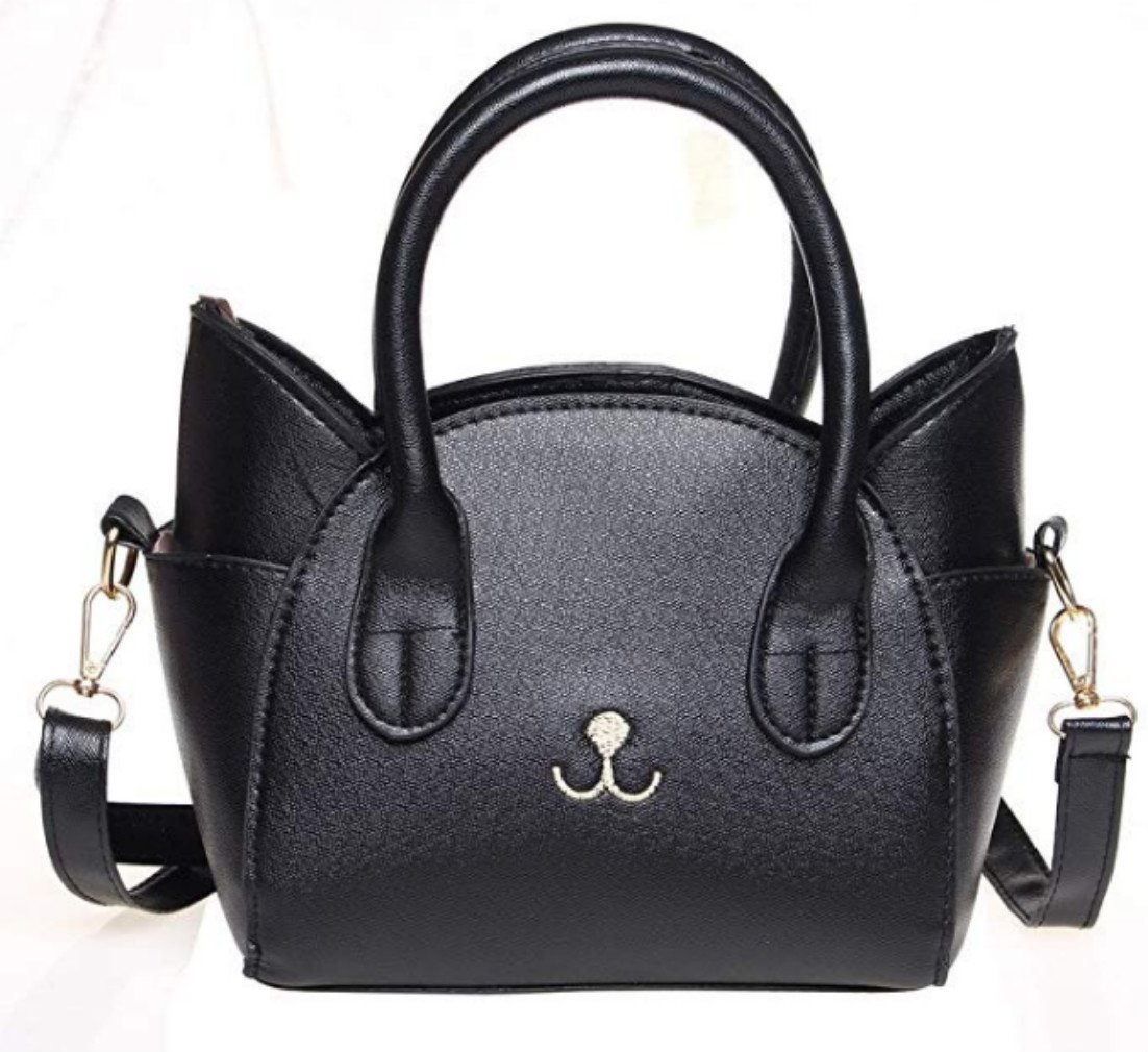 Women's Handbag Fashion Top Handle Bag Cute Cat Cross Body Bag Shoulder Bag Tote Bag for Girls/Women (Black)