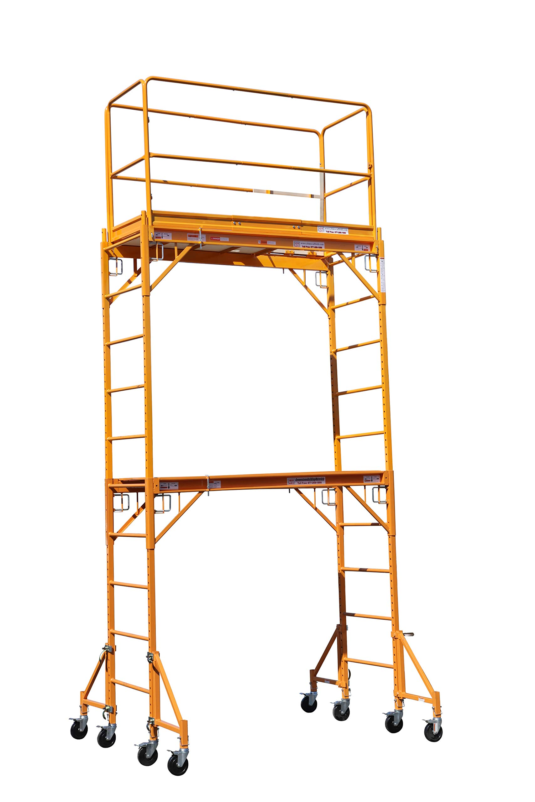 CBMScaffold Multipurpose Maxi Square Baker Style Scaffold Tower with Improved Clamp on 18'' Outrigger Package - 12ft, 1,000-Lb. Capacity, Model# 2MFS18O by CBM Scaffold