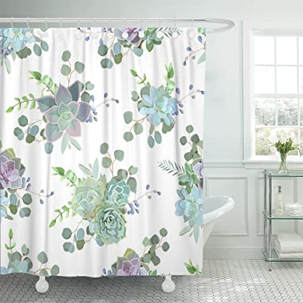 TOMPOP Shower Curtain Flower Green Colorful Succulent Echeveria Design Natural Cactus In Modern Funky Style Wedding