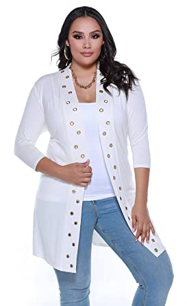 93a6ac868ff2f Belldini Women s Plus Size 3 4 Sleeve Open Duster with Grommets Down The  Front -