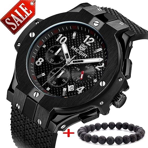 Relojes para Hombre All Black, Reloj Grandes esferas, Relojes Militar de Lujo de Silicona