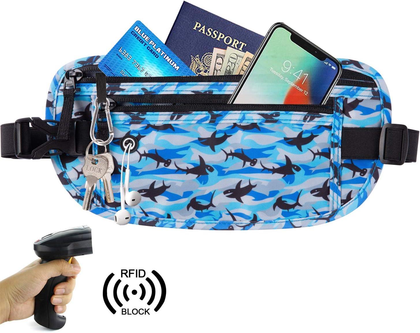 Goothdurs Running Money Belt Travel Fanny Pack RFID Blocking Slim Waist Bag for Women and Men 2019 New Model