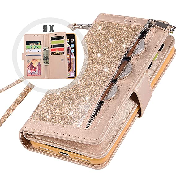 c4957d75e iPhone 8 Bling Wallet Case for Women,Auker Trifold 9 Card Holder Folio Flip  Glitter